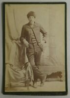 Antique Bradway Cabinet Card Photo of Man Wearing Fur Hat Liberty, Indiana