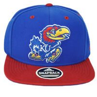 NCAA Adidas Kansas Jayhawks VW16Z Flat Bill Hat Cap Headgear Blue Snapback