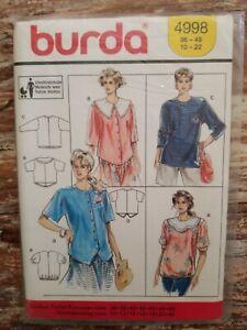 Burda Sewing Pattern 4998 Misses Maternity Tops Blouses Shirts Sizes 10-22 UNCUT