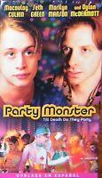 Party Monster (Doblada en Español VHS) Macaulay Culkin, Marilyn Manson **NEW**