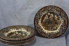 "Royal Tudor Ware 17 Century England (6) Rim Rimmed Soup Bowls 9"""