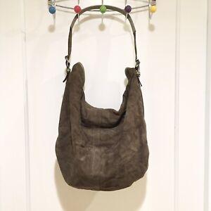 Diesel Suede Olive Green Large Hobo Bag 100% Leather Purse Shoulder Bag