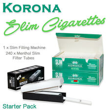 SET 240 Korona Slim Menthol Empty Cigarette Filter Tubes + Filling Machine