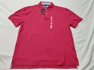 NWT Tommy Hilfiger Shirt Short Sleeve Classic Fit Pink Golf Rugby Men's Size XL