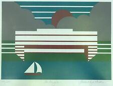 Vtg 70s 80s Nautical Serigraph Wall Hanging Retro Art Mid Century Modern Signed