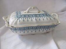 John Maddock & Sons blue white Premier covered vegetable serving dish 1880's