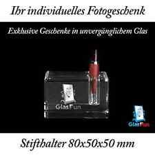 3D Stifthalter Glas Quader Kristall Geschenk Foto Graviert Glasfun 80x50x50 mm