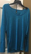 NWT Trina Turk  Recreation Jacquard Dolman Long Sleeve Turquoise Top Sz M $100