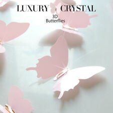 3D Butterfly Wall Sticker, Pink or Grey (Taupe), Luxury, Crystal, Wedding Decal