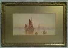 ANTIQUE SEASCAPE WATERCOLOR PAINTING BY E. HUTCHINS