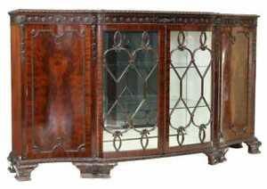 Antique Sideboard, English Edwardian Mahogany Display, Glazed Doors, Early 1900s