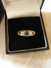 VINTAGE 18CT SAPPHIRE & DIAMOND 5 STONE RING MADE IN ENGLAND PURE QUALITY
