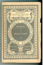 BOCCACCI GIOVANNI IL FILOCOLO UTET 1927 VOLUME SECONDO CLASSICI ITALIANI 15