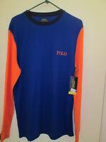 Polo Ralph Lauren Men's Waffle Thermal Shirt Top Blue Orange Large Long Sleeve