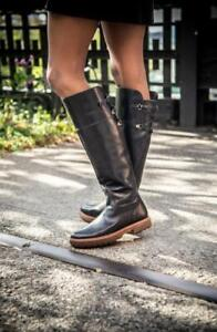 $400 - Timberland Riley Flair Black Leather Knee High Boot Size 6