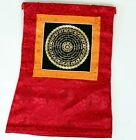 Om Mandala Thangka im gelben Brokatrahmen handgemalt Nepal Buddhismus Nr.7