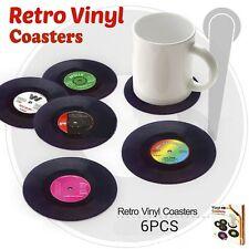 6Pcs Drink Mat Coasters album slip Vinyl Cup mat Record Table Bar Set Practical