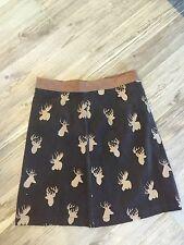NWT AnthropologiE Knitted Doves Corduroy Skirt Deer Moose S