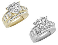 Ladies 10K White/ Yellow Gold Heart Cluster Real Diamond Engagement Ring 1.0ct