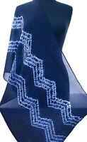 """Indigo & White Hand-Dyed Shibori Silk Scarf 72"""" x 20"""" Chiffon Tie-Dye India"""