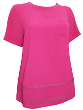 MARKS AND SPENCER/ M & S - RASPBERRY/PINK FLOATY SHEER HEM TOP **NEW**