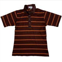 Vtg 1960s Polo Shirt Men's Striped Collared Shirt Brown Orange Med Short Sleeve