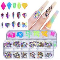 3D Nail Art Rhinestones Mix Crystal AB FlatBack Glitter Diamonds Tips Decoration