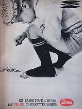 PUBLICITÉ DE PRESSE 1961 CHAUSSETTES NOIRES STEMM EN LAINE - ADVERTISING