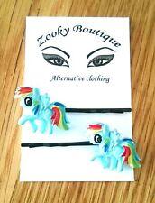 Rainbow dash pony hair slides, grips, black bobby pins. Boho. Kawaii gift idea