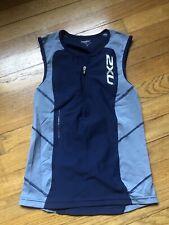 2Xu Men's Elite Compression Tri Singlet, Blue Small
