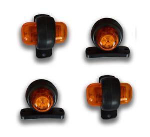 4 x 24V 2 LED AMBER SIDE MARKER OUTLINE LIGHTS LAMP TRAILER BUS VAN TRUCK LORRY