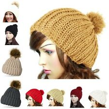 HOT Women Girls Winter Warm Beanie Cap Knit Faux Fur Pom Ball Slouchy Ski Hat US