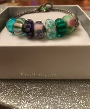 Authentic Trollbeads Silver Bracelet with 7 Beads, 2 Spacers and Jeweled Clasp