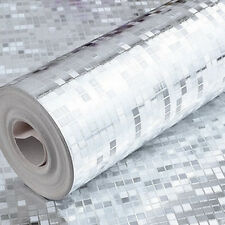 10M Luxury Silver  Mini Mosaic Tiles Metallic Design Glitter Foil Wallpaper