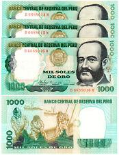 Peru 1000 Soles de Oro P#122 (1981) 3 Consecutive Banknotes UNC