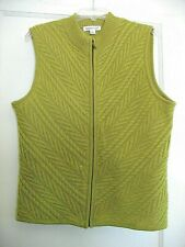 Coldwater Creek 100% Wool Zip Front Sweater Vest -- Large -- Peridot Green