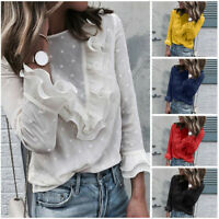 Women Ladies Casual Lace Polka Dot O Neck T-shirt Long Sleeve Casual Tops Blouse