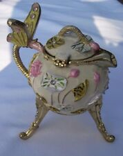 Funky and Fun Teapot Music Box - Decorated with Flowers and a Butterfly