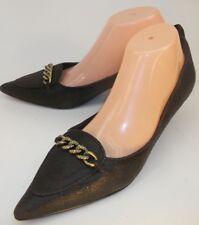 b02e6398e8a2 Beverly Feldman Wos Shoes Heels Kitten US 9.5M Brown Textured Leather chain  5502