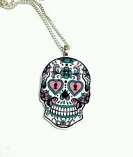 Sugar skull acrylic pendant 18 inch chain kawaii day of the dead