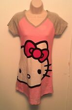 Hello Kitty ~ Women's Small Nightgown Sanrio Pajamas Pink Gray Sleep Shirt