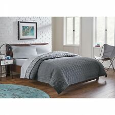 Colormate Solid Grey & Floral Modern Geo Stitch Reversible Quilt, Twin / Twin XL