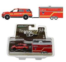 GREENLIGHT 32100 D 2016 Ford Explorer FDNY with Trailer Diecast 1:64 New!!