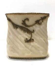 Home Goods Hand Painted Tissue Kleenex Box Cover Resin Cream Marble Look