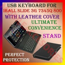 """ACM-USB KEYBOARD for IBALL SLIDE 3G 7345Q 800 7"""" TABLET LEATHER CASE STAND COVER"""