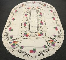 72x108'' Oval Embroidered Fruit Fabric Embroidery Tablecloth 12 Napkins - Beige