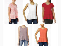 Women's Style &Co Layered Basic Cotton High Low Peplum Hem T-Shirt $34