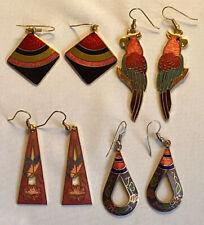 Great Vintage Lot 4 Pairs Pierced Cloisonne Enamel Earrings Gold Tone 1970-80