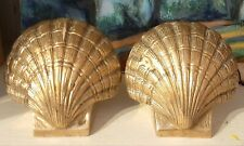 Vintage Brass Clam Shell Book Ends - Nautical Decor