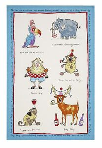 Ulster Weavers Old Fangled Linen Tea Towel 2 Pack Funny Animal Lovers Gift